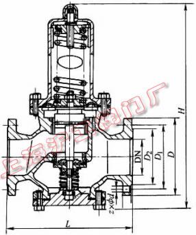Y42X-16、Y42X-16C 型薄膜式减压阀外形及结构尺寸示意图