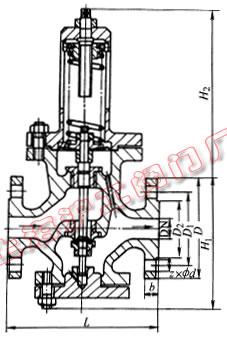 Y42X-16Q、Y42F-16 型弹簧薄膜式减压阀外形及结构尺寸示意图