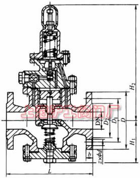 Y43H-16、Y43H-16C、Y43H-16Q 型先导活塞式蒸汽减压阀外形及结构尺寸示意图