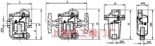 CS15H、CS45H 型 PN16 钟形浮子式蒸汽疏水阀主要外形及结构尺寸示意图