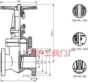 Z41H、Z41Y、Z41W 不锈钢闸阀外形及结构尺寸示意图